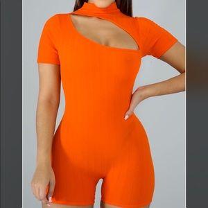 Orange Slit Romper